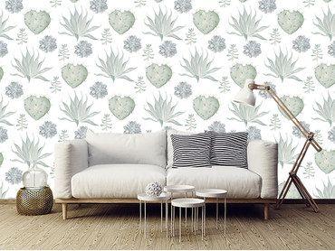 Papier peint cactus et fleurs