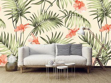 Papier peint jungle feuilles exotiques
