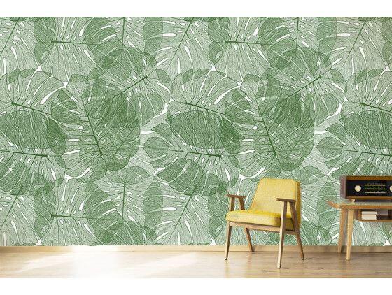 Papier peint moderne mur végétal