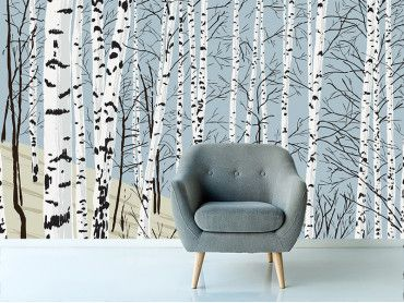 Papier peint dessin forêt