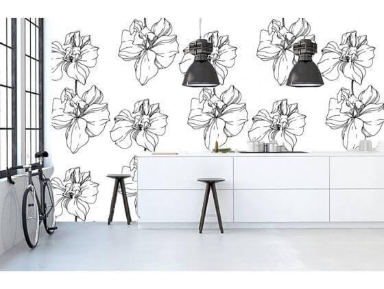 Papier peint dessin fleurs noir et blanc
