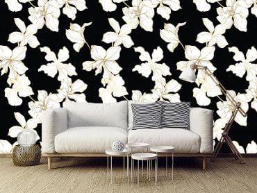 Papier peint moderne motifs fleurs
