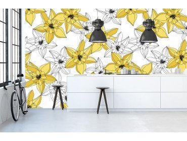 Papier peint contemporain fleurs jaunes