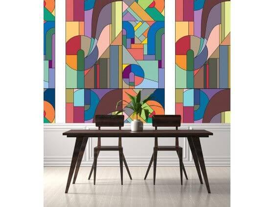 Papier peint motif vitrail art deco