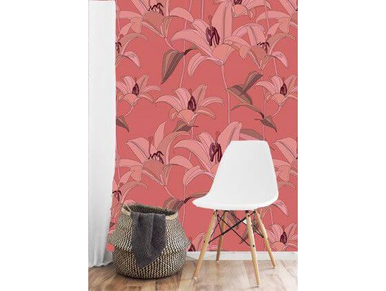 Papier peint motif floral rose
