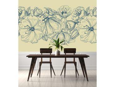 Papier peint composition fleurs bleues