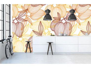 Papier peint esquisses de fleurs