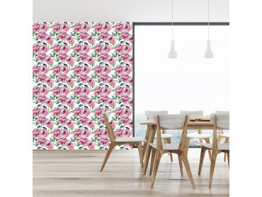 Papier peint motifs fleurs roses