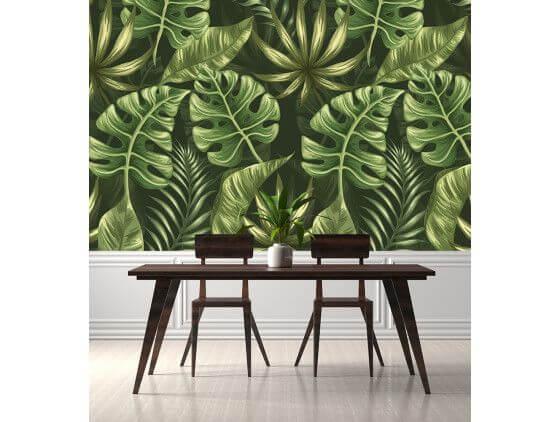 Papier peint macro feuilles vertes