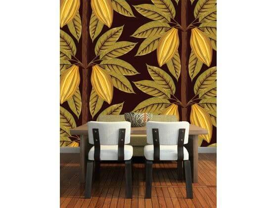 Papier peint feuilles de cacaotier