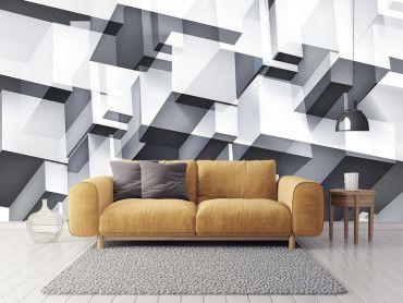 Papier peint noir et blanc vision 3D