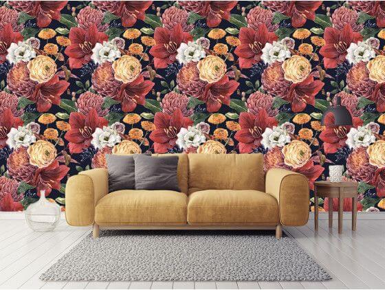 Papier peint mur de fleurs