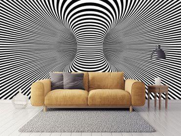 Papier peint trompe l'œil psychédélique noir et blanc