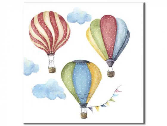 Tableau trio de montgolfières pour enfant