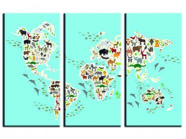 Tableau carte du monde animaux