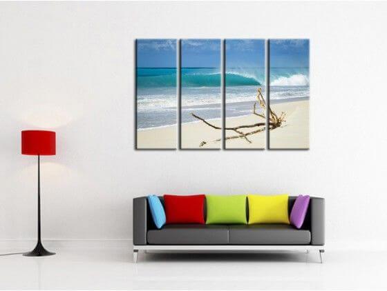 tableau deco plage sable blanc d coration alu plexi et. Black Bedroom Furniture Sets. Home Design Ideas