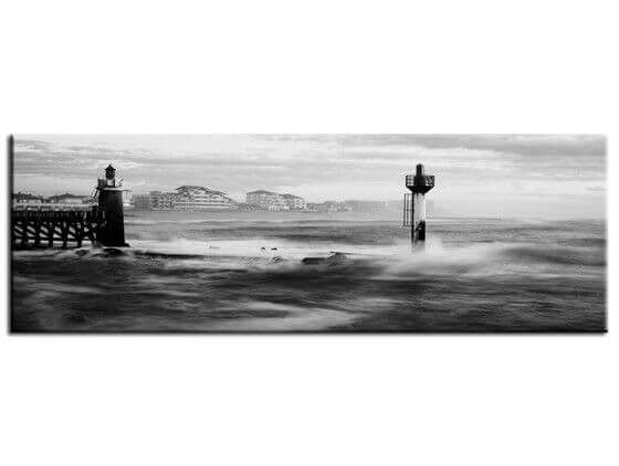 Tableau noir et blanc photo phare de capbreton