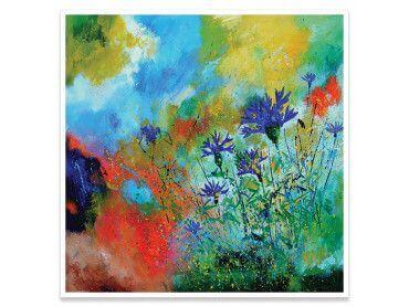 Cadre champ de fleur abstrait