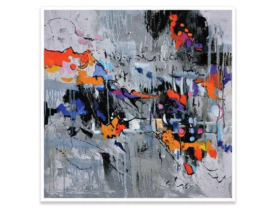 Cadre abstrait reproduction peinture city