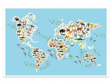 Cadre carte du monde animaux