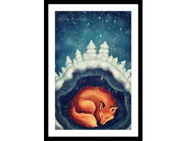 Cadre renard endormi pour enfant