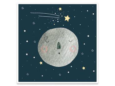 Cadre gris lune pour enfant