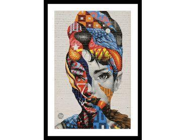 Cadre street art visage femme Speechless