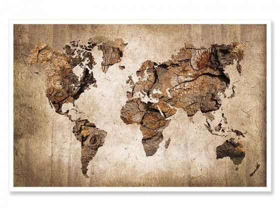 Cadre carte du monde effet bois