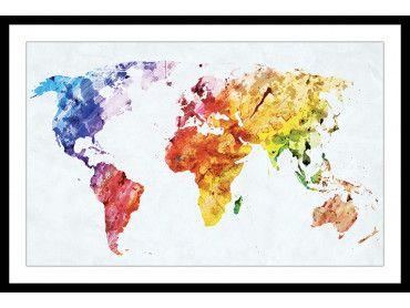Affiche carte du monde multicolore