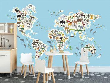 Papier peint carte du monde des animaux