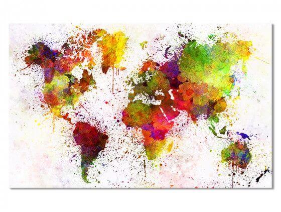 Tableau toile carte du monde