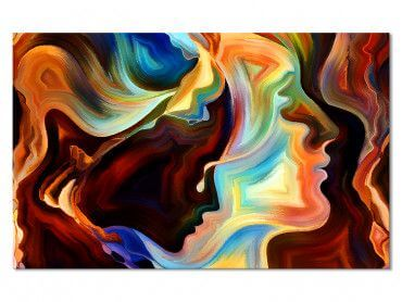 Tableau abstrait Les visages
