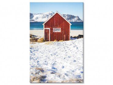 Tableau cabane rouge pêche sous la neige