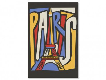 Tableau illustration Tour Eiffel vintage