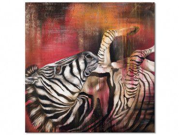 Tableau zebre patte en l'air en peinture