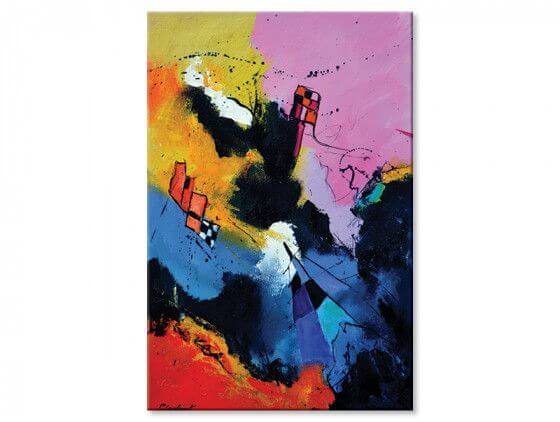 Tableau abstraite damiers et multicolore