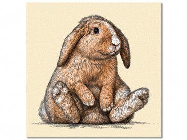 Tableau enfant lapin belier sur son arriere train