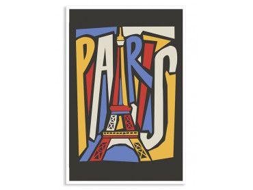 Cadre illustration Tour Eiffel vintage
