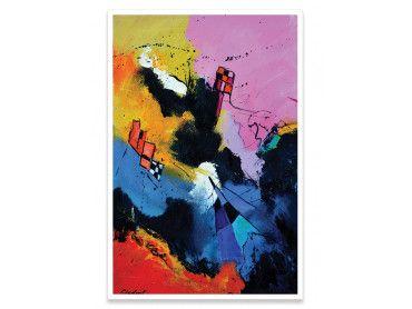 Affiche abstraite damiers et multicolore