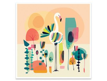 Affiche retro Flamingo White