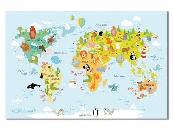 Tableau world map and animals
