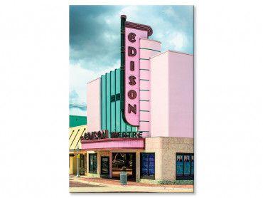 Tableau Edison theater sur fond rose