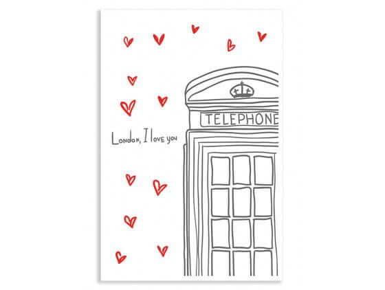 Cadre London I love You Telephone Boxes