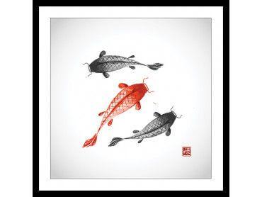 Affiche dessin carpes koï