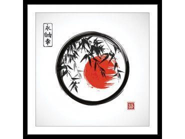 Cadre zen circle Japon et bambous