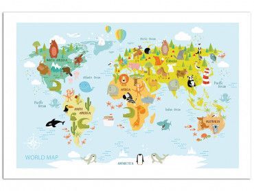 Affiche world map and animals