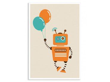 Cadre le petit robot aux ballons