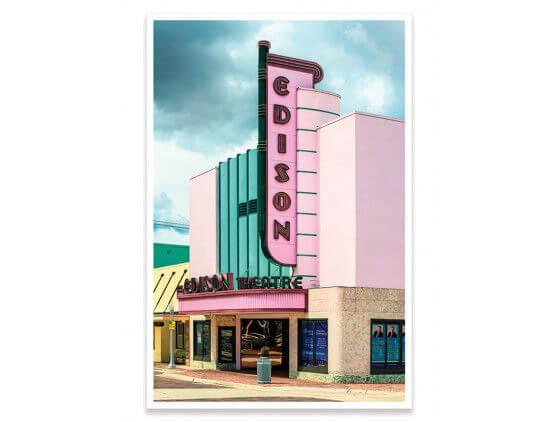 Cadre Edison theater sur fond rose