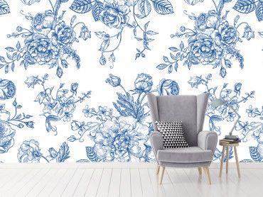Papier peint tapisserie fleurs bleues romantiques