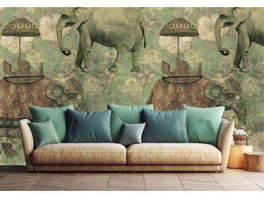 Papier peint Voyage à dos d'éléphant à Pondichéry